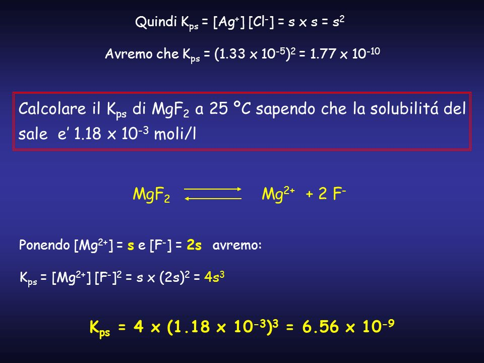 Quindi Kps = [Ag+] [Cl-] = s x s = s2
